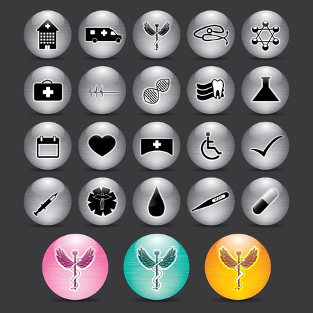 Abstract silver medical icons background