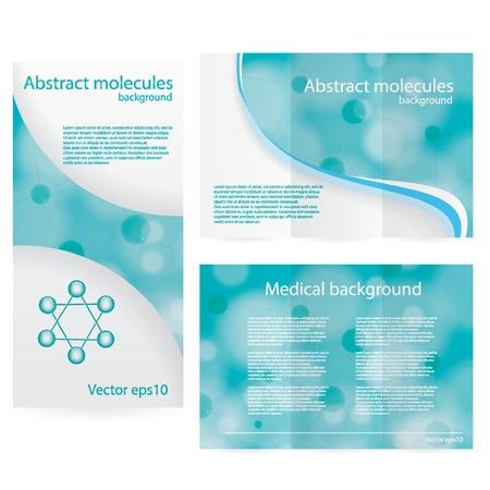 抽象的な分子青い緑の背景