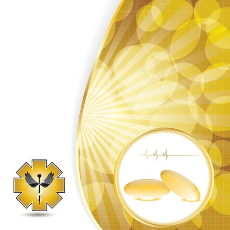 supplements: Abstract golden omega 3 medical background
