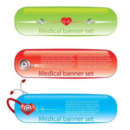 diagnostic medical tool: Set of medical banners or website headers 3 colors Illustration