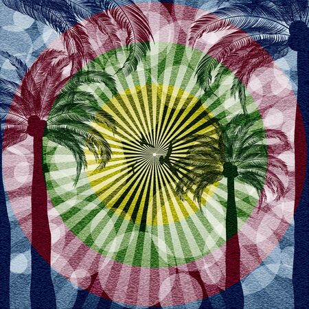 Summer tropical holiday background with palms Illustration