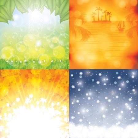 Four season background set Vectores