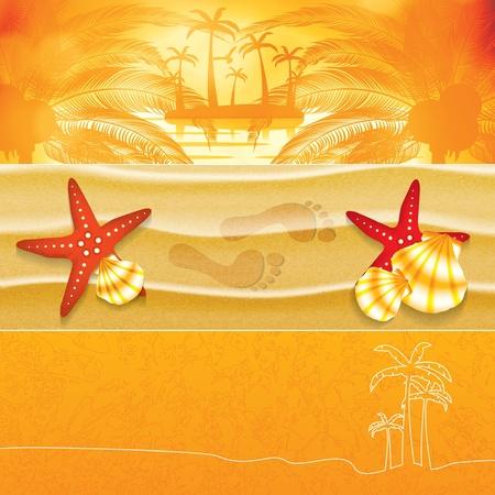 Summer orange background banner set Stock Vector - 21636235