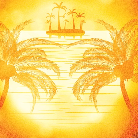 marine scene: illustration of sunset view in beach with palm tree