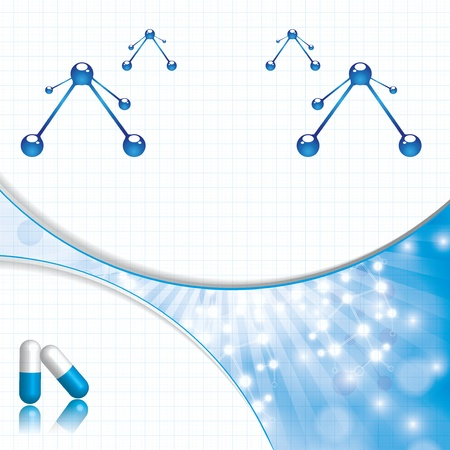 Abstract molecule blue background Vector
