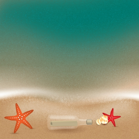 floating island: Message in a bottle in the sand on the beach