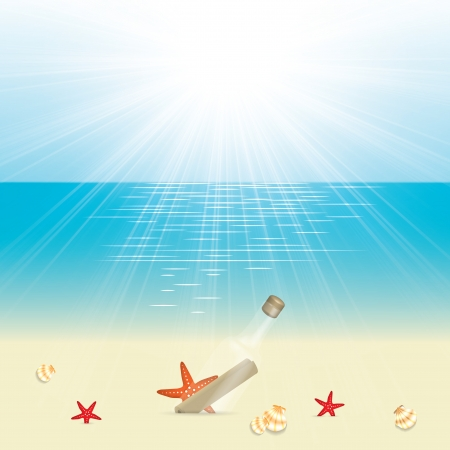 Message in a bottle in the sand on the beach Vector