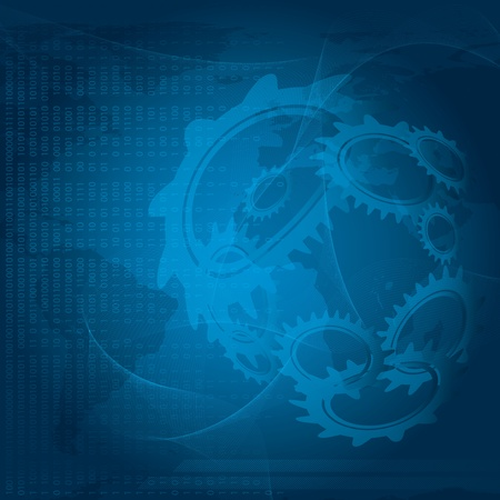 planet futuristic: Futuristic blue background with world map and gears