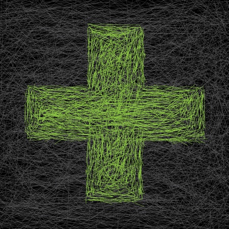 green plus: Abstract medical scratched background with green plus sign Illustration