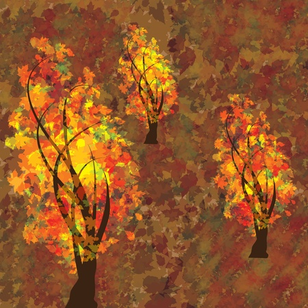 changing colors: Autumn background with trees and falling leaves