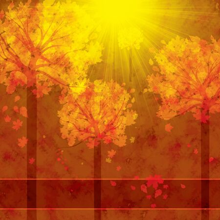 fall trees: Autumn background with trees and falling leaves
