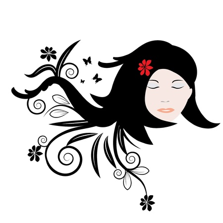 natural health: Woman hair abstract illustration with flowers