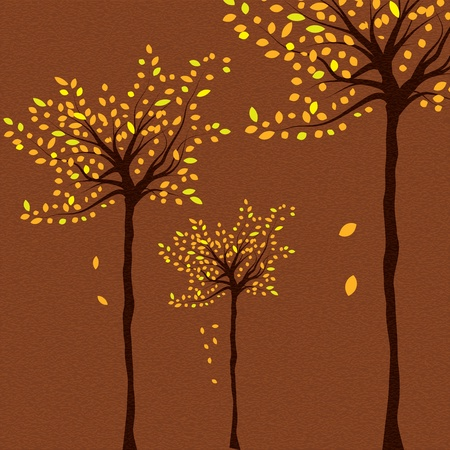Autumn background with trees and falling leaves   Vector
