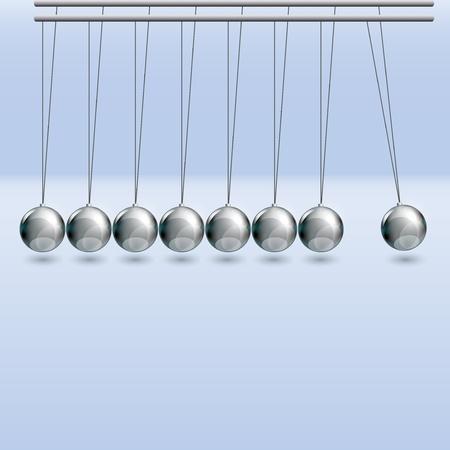 newton cradle: Illustration of newton cradle on blue background