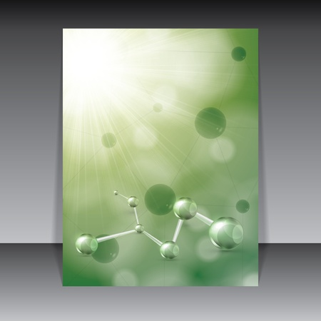 Abstract molecule green background Vector