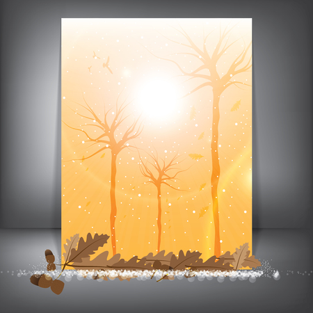 Vector background autumn and winter