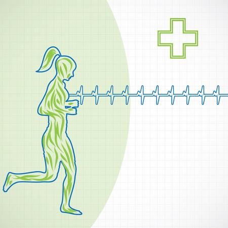donna che corre: Donna in esecuzione background medico