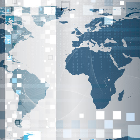 frid: Abstract tech world map background  Illustration