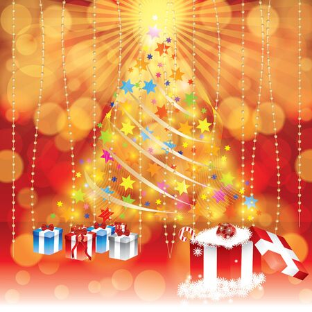 xmas decoration: Abstract winter Christmas background with gifts and tree in background