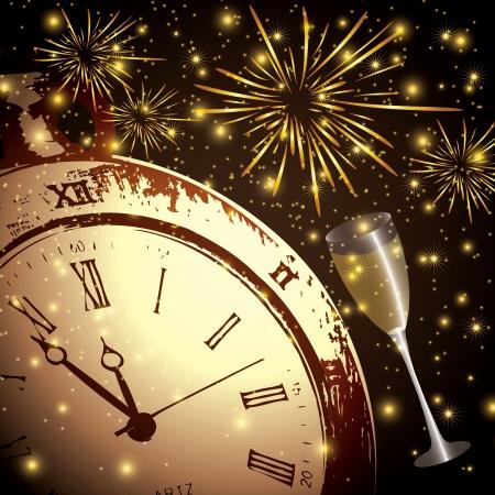 R�sum� hiver Nouvel An de fond avec feux d'artifice Illustration