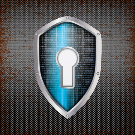 hexadecimal: Security concept: blue shield with rusty metal background