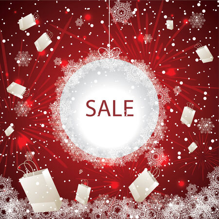 Big holiday sale with fireworks and snowflakes