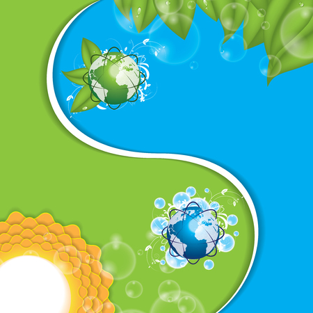 Eco yinyang  Vector ilustration green blue Vector