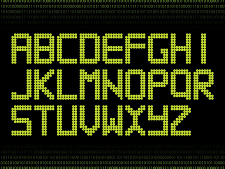 Green alphabet with dots  Vector
