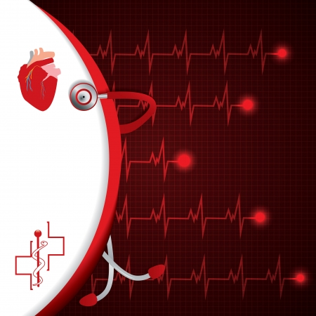 Abstract medical cardiology ekg background  Stock Vector - 24873100