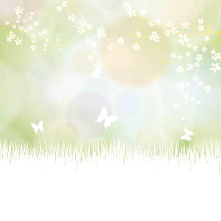 Colorful summer spring background with flowers and butterfly Stock Vector - 24873103