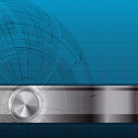blue metallic background: Abstract metallic grid background blue Illustration