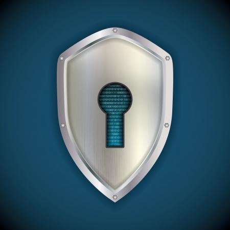 hexadecimal: Security concept: metal silver shield  Illustration