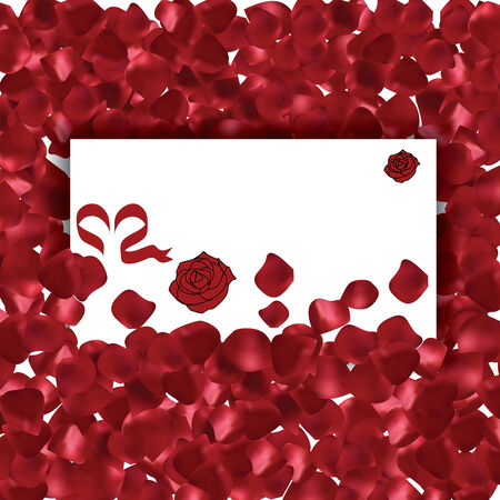 Valentines Day red petals background with messgae card Illustration