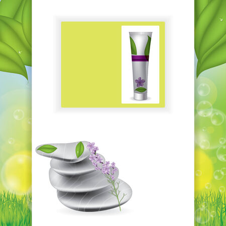 spring balance: Spa treatment website template with realistic stones and lavender
