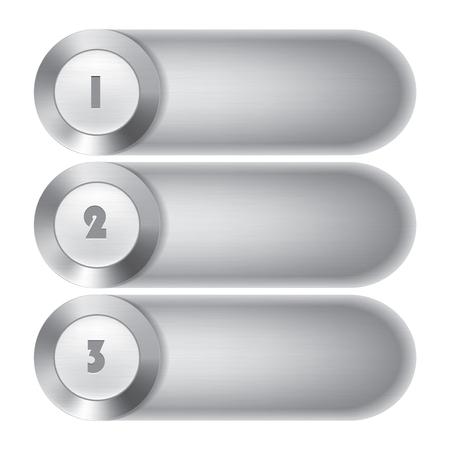 aluminium  design: Metal vector banner set 3 options
