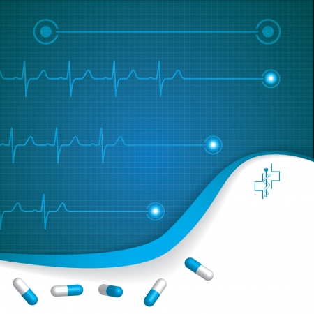 Abstract medical cardiology ekg background  Vector