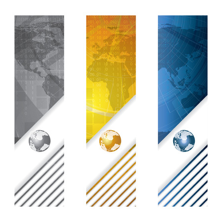 Business banner global concept silver golden blue Vector