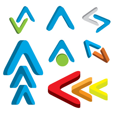 orientation marker: Abstract 3d arrow icon set colorful