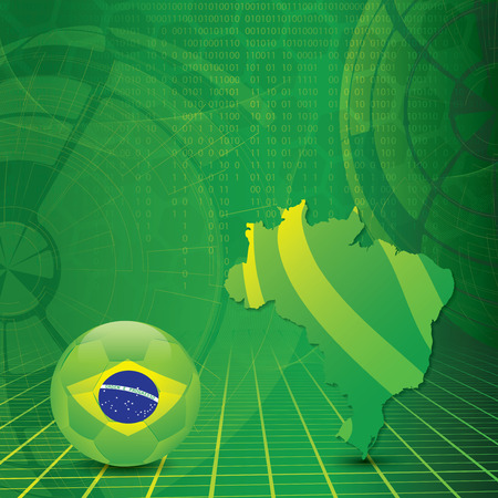 brasilia: Brasil Soccer green with Brasilia map and ball Illustration