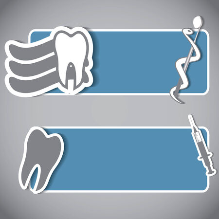 cavities: Abstract dental banner set blue silver Illustration