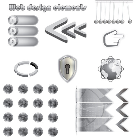 Web design elements collection metal texture Vector