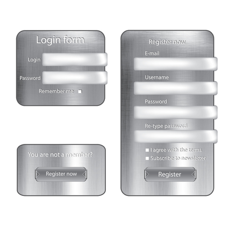Metal texture silver vector login form  Vector