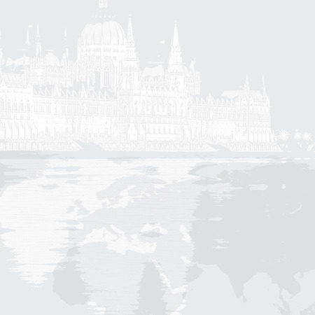 Graphic illustration of parliament in Hungary Budapest  Vector