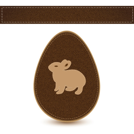 easter egg sewn leather sample with bunny Vector