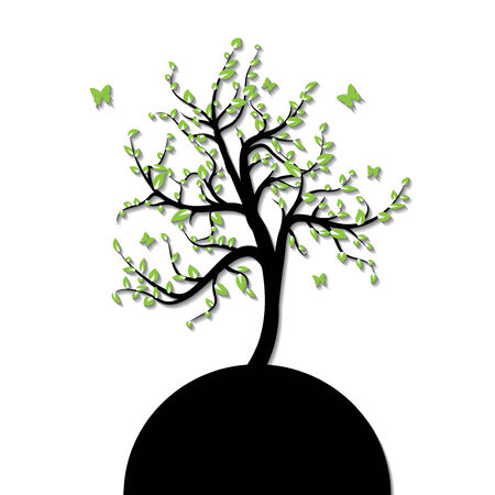 Silhouette of a tree with green leaf and butterfly Vector