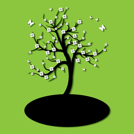 green hills: Silhouette of a tree with flowers and butterfly