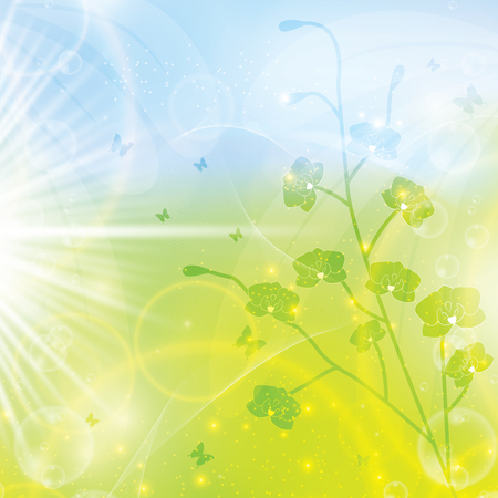 Abstract spring floral background light colors green blue Illustration