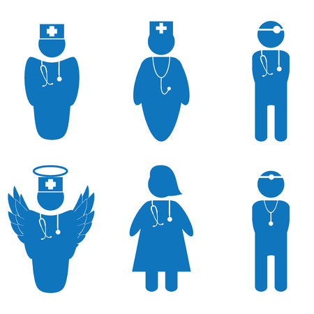 Vector illustration of nurse and doctors isolated Vector
