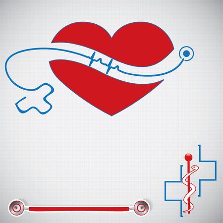 stethoscope heart: Abstract medical cardiology ekg vector background  Illustration