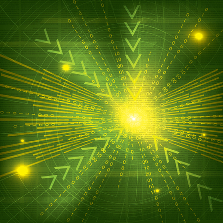 Abstract tech binary green background Vector